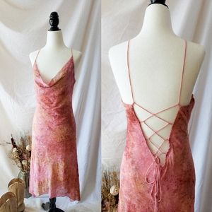 Pink midi tie up open back thin strap dress